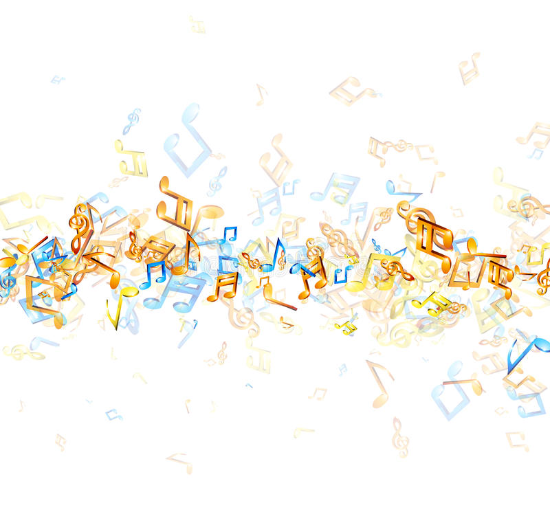 White musical background with notes. royalty free illustration