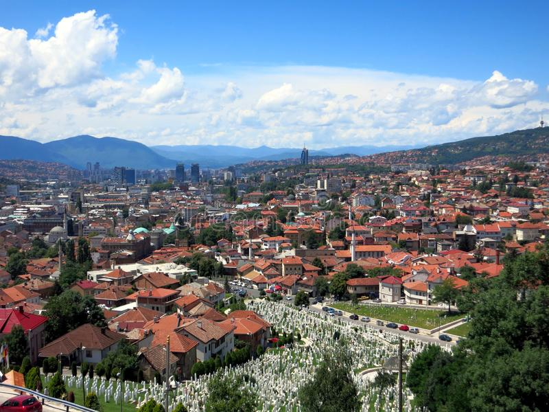 The white muslim tombstones in a beautiful summer day in Sarajevo, Bosnia and Herzegovina stock images