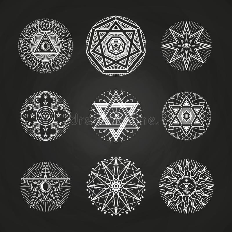 White mystery, occult, alchemy, mystical esoteric symbols on blackboard. Illustration of spirituality illuminati signs for spiritual religion esoteric vector royalty free illustration
