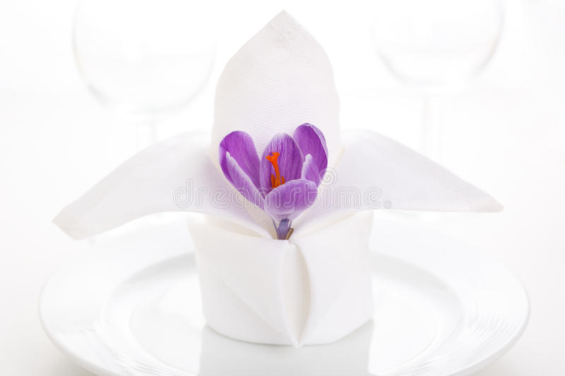 Download White napkin with crocus stock photo. Image of dish, flower - 18213302
