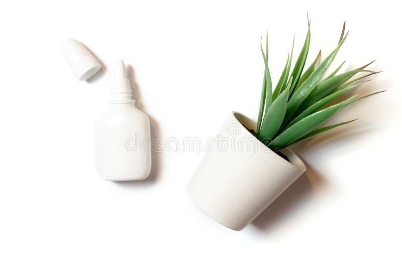 White nasal spray for nose congestion treatment, natural herbal medicine concept on white background flat lay, top view stock photography