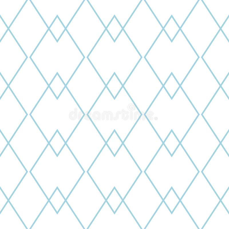 White and navy blue geometric ornament. Seamless pattern stock illustration