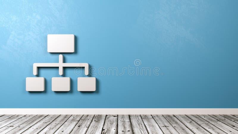 Network Chart Symbol Against Wall. White Network Chart Symbol Shape Against Blue Wall with Copyspace 3D Illustration vector illustration