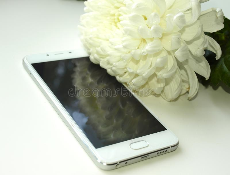 White new smartphone stock image
