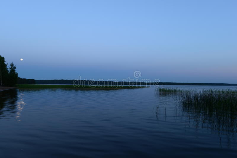 White nights moon over the lake time before dawn. Landscape photography of nature night time before dawn summer season royalty free stock photo