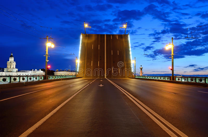 White Nights in St. Petersburg. Russia. Raised Palace Bridge across the Neva river royalty free stock photo