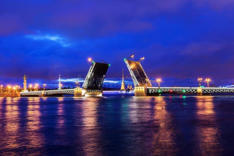 White Nights in St Petersburg. Divorced Palace Bridge stock photo