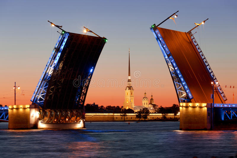 White nights in St. Petersburg. Divorced Palace bridge. Russia royalty free stock photo