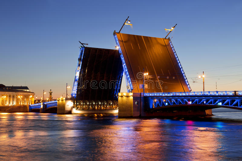 White nights in St. Petersburg. Divorced Palace bridge. Russia royalty free stock images