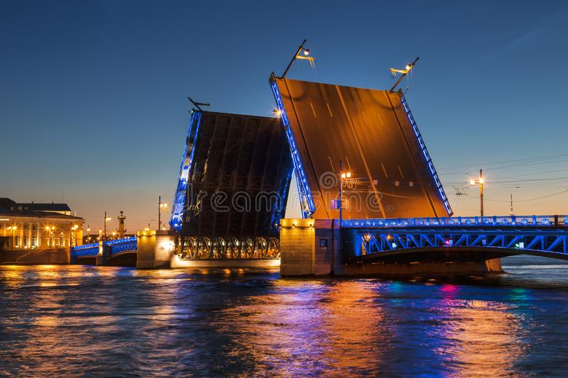White nights in St. Petersburg. Divorced Palace bridge. Russia stock images