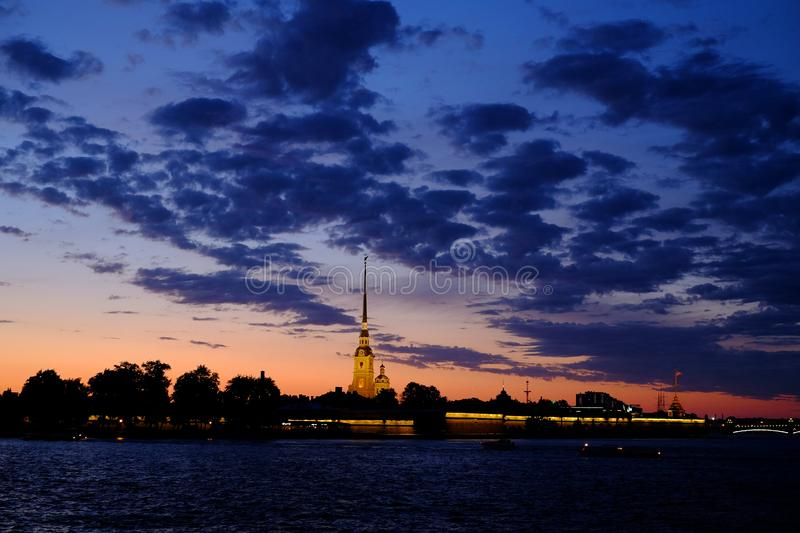 White Nights in St. Petersburg. Fortress, peter paul russia stock image