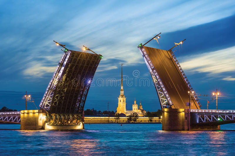 The White Nights in St.-Petersburg. Palace Bridge and Peter and Paul Cathedral. The White Nights in St.-Petersburg, Russia royalty free stock image