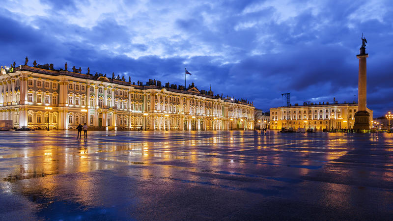 White Nights in St Petersburg. Palace Square royalty free stock images