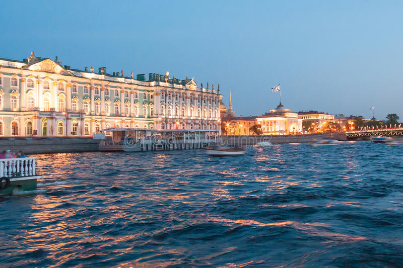White Nights in St Petersburg. State Hermitage Museum royalty free stock image