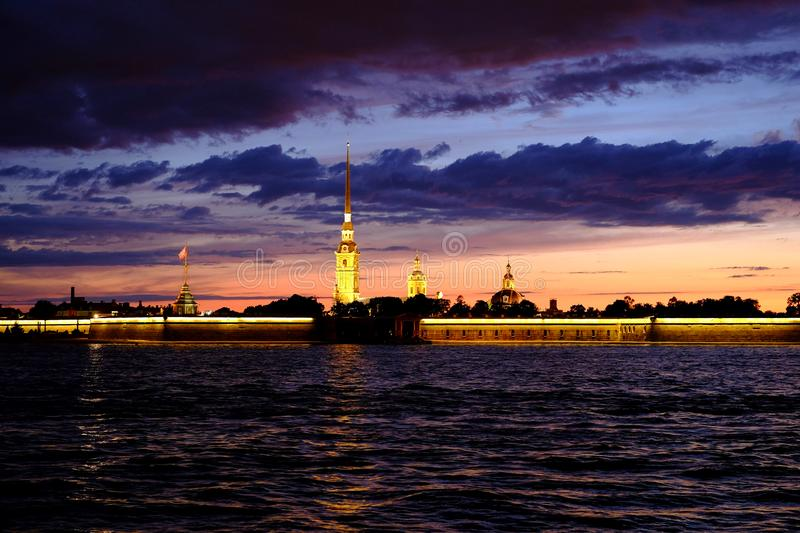 White Nights in St. Petersburg. Fortress, peter paul russia royalty free stock image