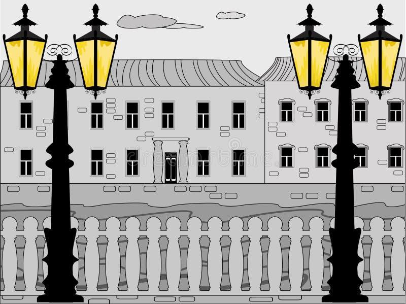 White nights, vector cityscape. Vector retro cityscape. eps included stock illustration