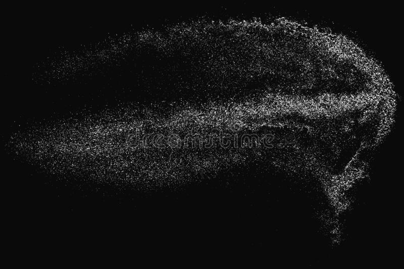 White Noise Granules. White Grainy Texture Isolated On Black Background. Dust Overlay. Light Coloured Noise Granules. Snow Vector Elements. Illustration, Eps 10 stock photos