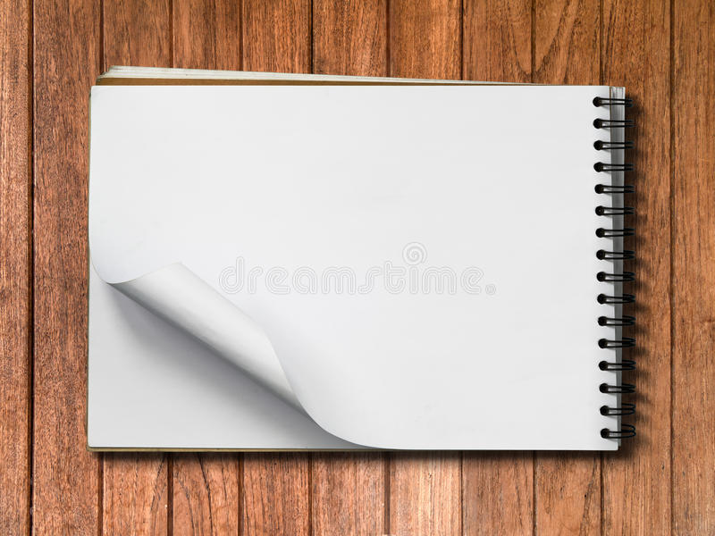 White Note Book Blank Page on Wood Horizontal stock photo