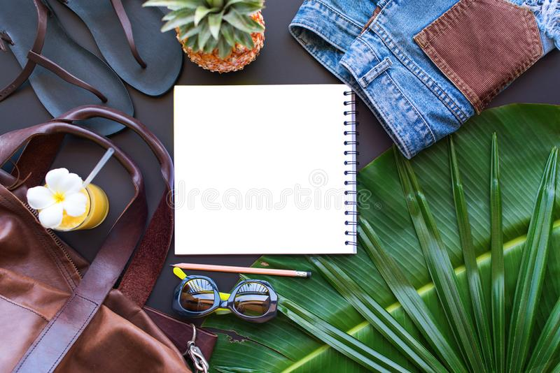 Set Woman Things Accessories Beach Season Flat Lay stock photos