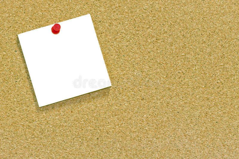 White Note On A Cork Noticeboard Stock Photos