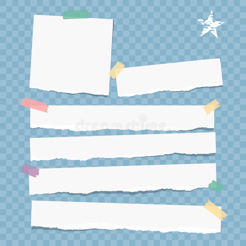 White note, notebook, copybook paper strips stuck with colorful sticky tape on blue squared background. White note, notebook, copybook paper strips stuck with royalty free illustration