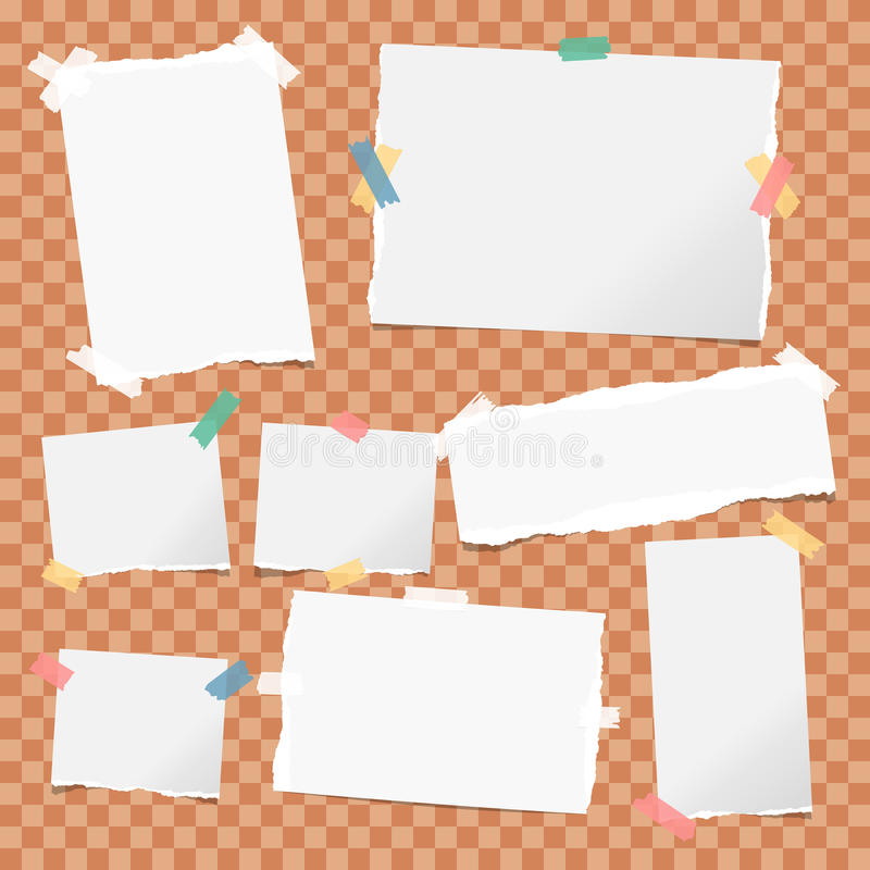 White note, notebook, copybook paper strips stuck with colorful sticky tape on orange squared background. vector illustration
