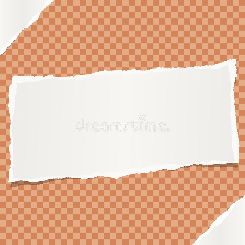 White note, notebook, copybook paper stuck on orange squared background. vector illustration
