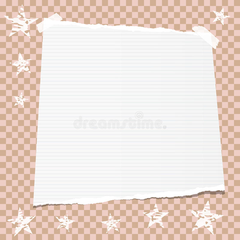 White note, notebook, copybook paper stuck with sticky tape on brown squared background with stars.. royalty free illustration