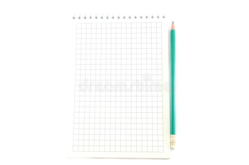 White notebook with a pencil on a white background stock photography