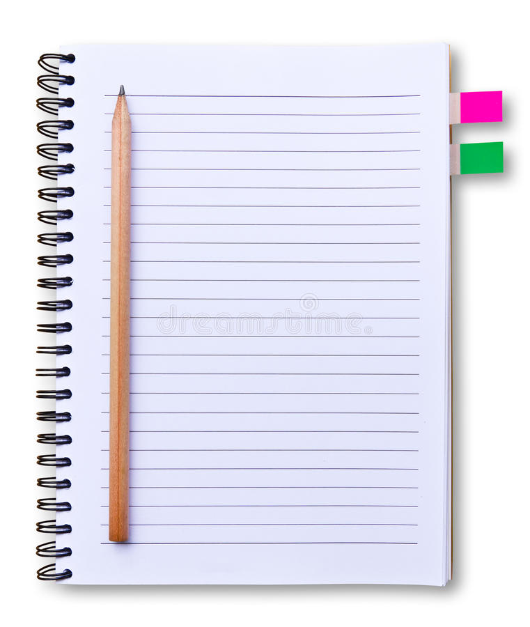 White notebook and pencil isolated stock image