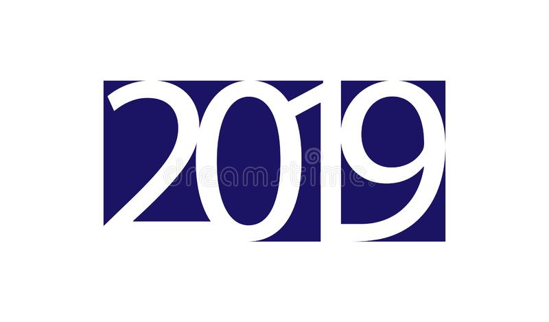 White numbers 2019 on a blue square and a white background vector illustration