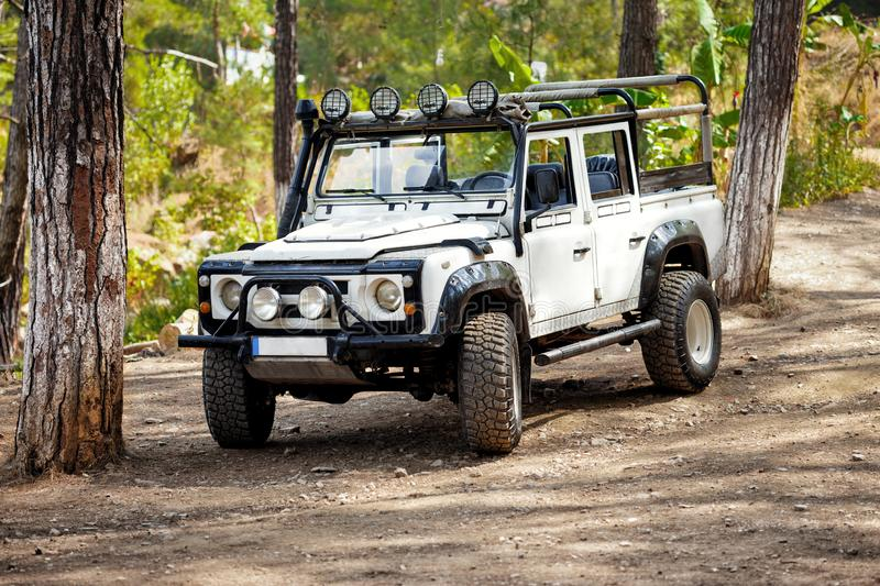 White 4x4 off road car forest Photo offroad royalty free stock images