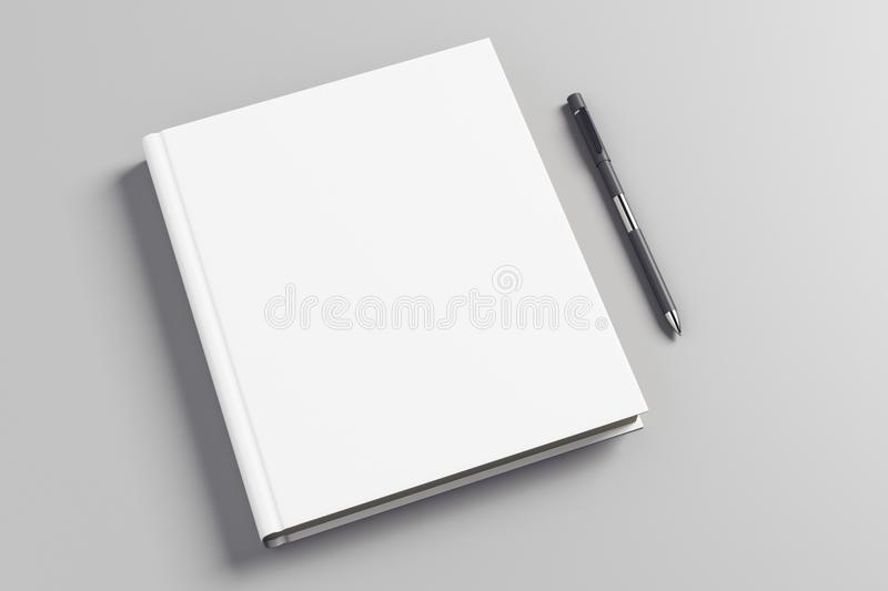 White office book. Top view and close up of white hardcover office book and pen on gray surface. Mock up, 3D Rendering royalty free illustration