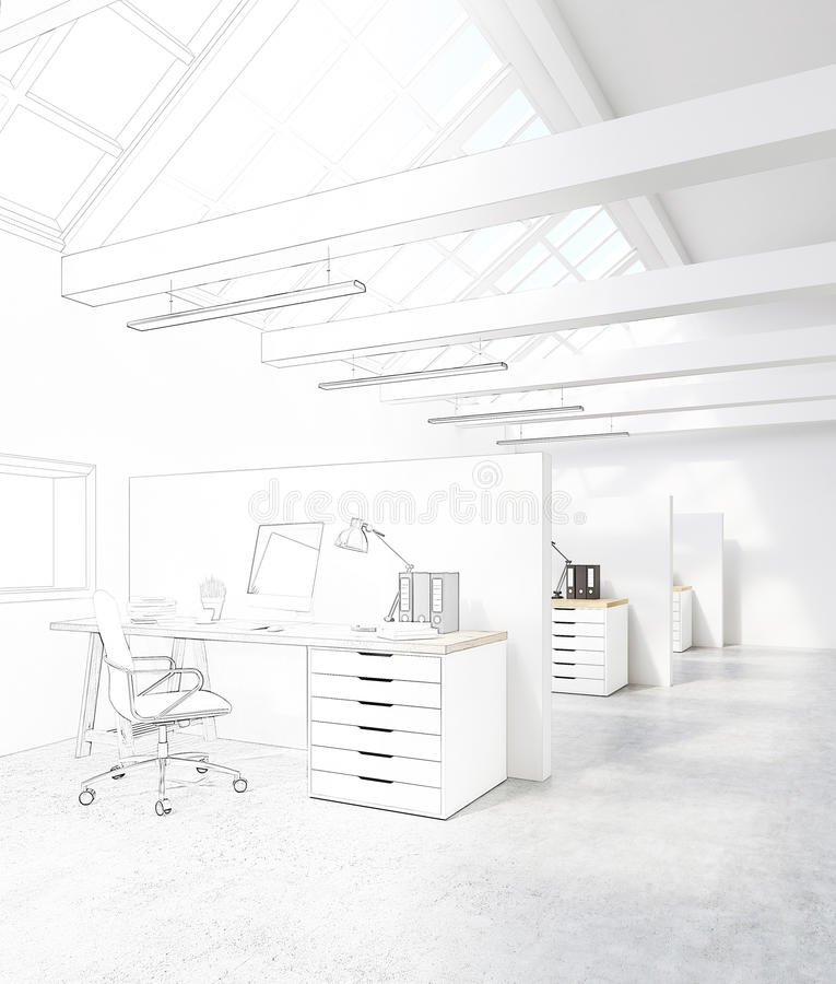 White office with cubicles in the attic. White office with cubicles. There are desktops on the tables and an attic roof with windows. Concept of a design studio royalty free illustration