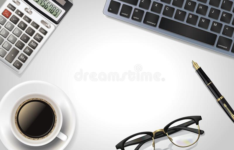 White office desk table with laptop, calculator,pen, cup of coffee, and glass. Top view with copy space. stock photography