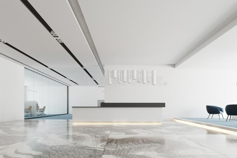 White office interior, white and black reception royalty free stock images