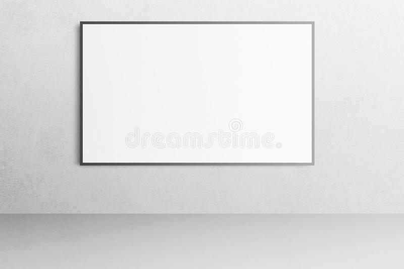 White office interior with blank poster mockup on the wall. stock photos
