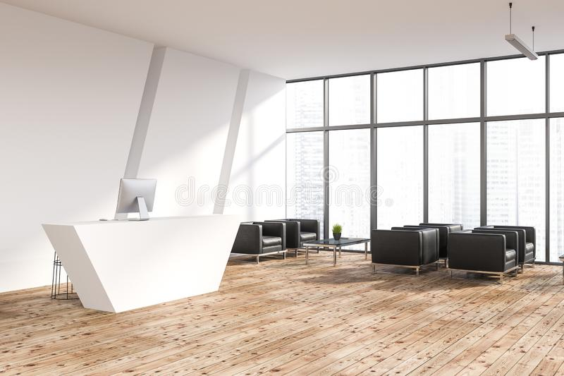 White office reception area corner. Corner of office waiting room with white walls, wooden floor, white reception desk with a computer on it and black armchairs vector illustration