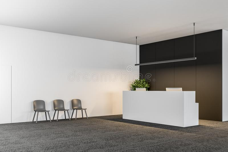 White office reception black wall, chairs. White office reception table with two computers standing in a modern company lounge with a black wall and a row of royalty free illustration