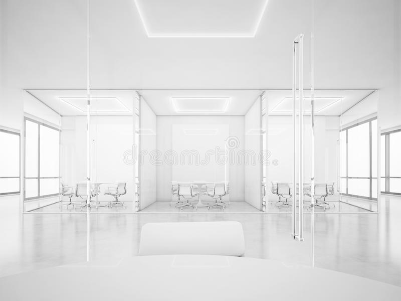 White office space with meeting rooms. 3D rendering. White office space with meeting rooms vector illustration