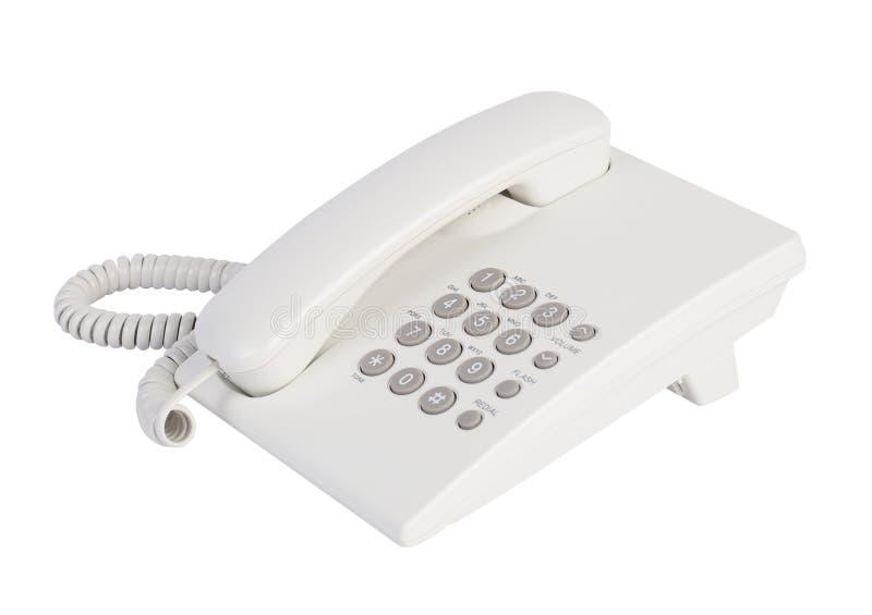 White office telephone. Close up white office telephone isolated stock image