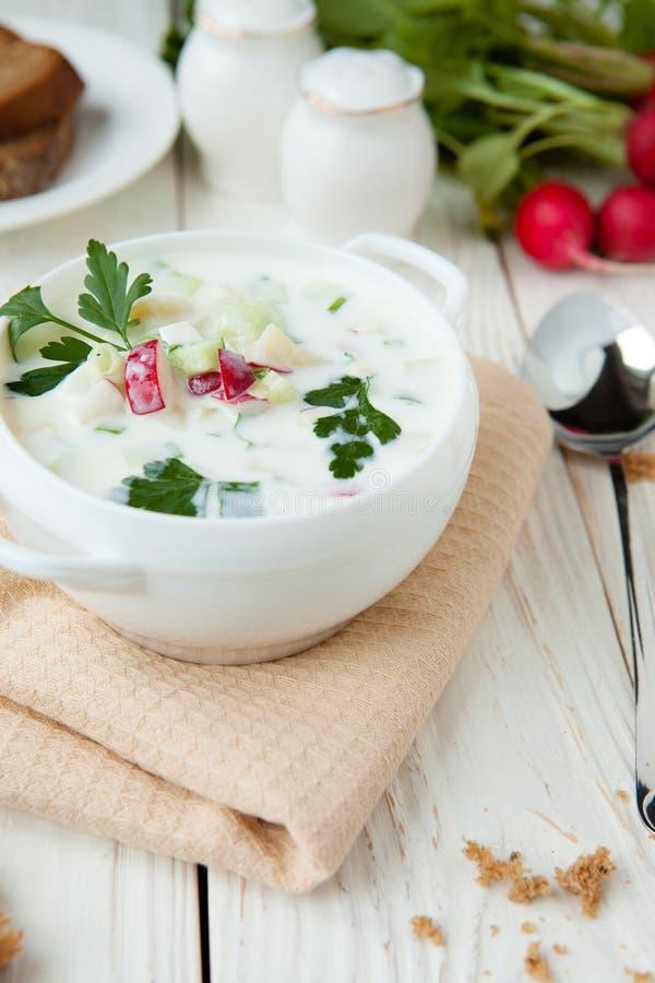 White Okroshka in a white tureen. Food royalty free stock image