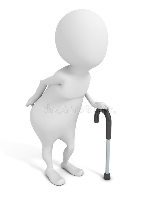Download White Old 3d Man With Walking Stick Stock Illustration - Illustration of people, grandad: 30792926