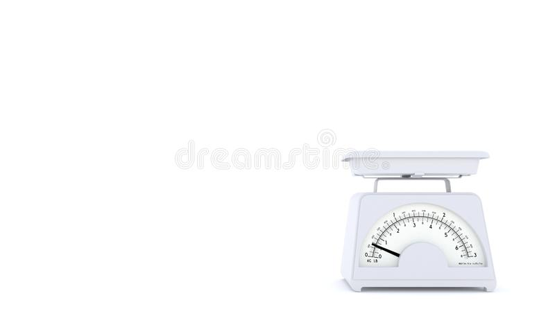 White old kitchen weight scales on white background with free space for text or logo. Copy space. 3D rendering. royalty free illustration