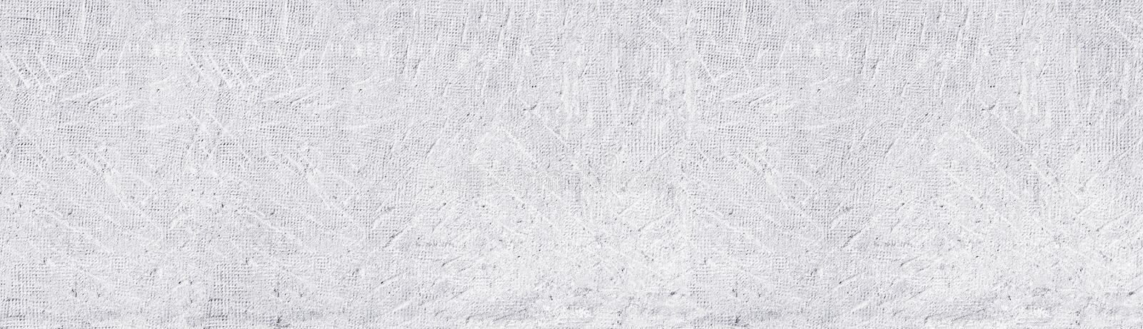 White old stamped concrete wall wide panoramic background. Whitewashed aged rough cement surface texture. White washed old stamped concrete wall wide panoramic stock illustration