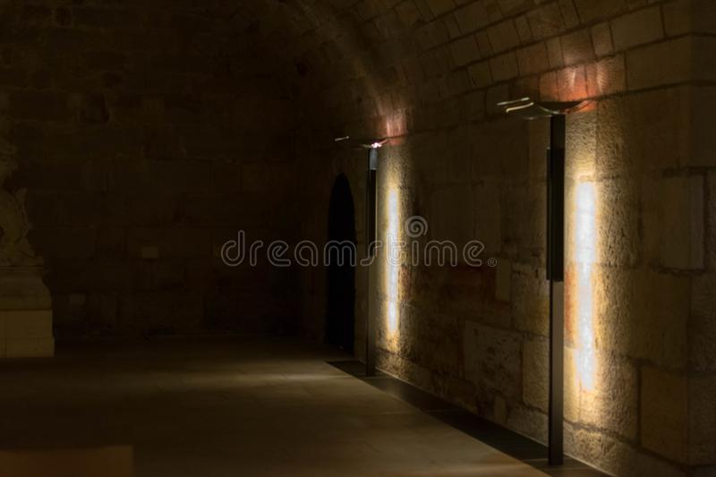 White Old Stone Stairs, Wall and Floor. Background. White Old Stone Stairs, Wall and Floor. Photo in the basement of the Frauenkirche church in Dresden royalty free stock images