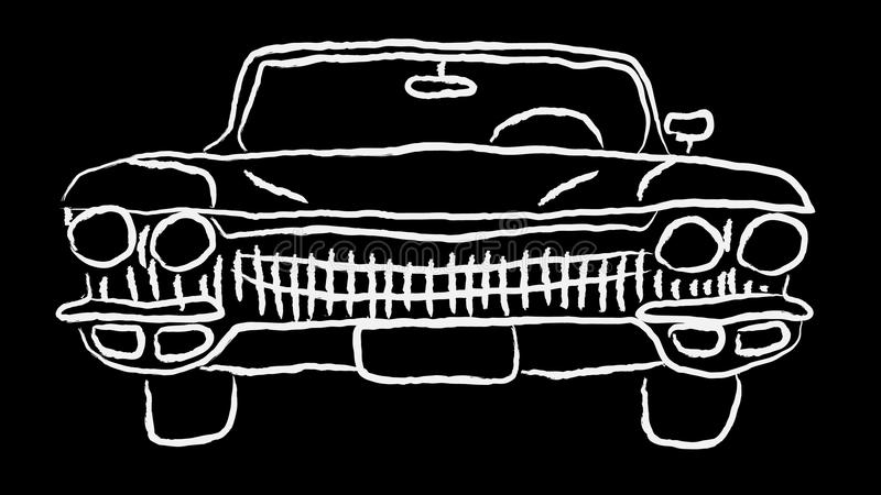 White old vintage antique hipster antique powerful fast retro car painted by hand paint on a contour on a black background. stock illustration