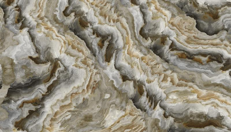 White onyx background. White onyx pattern with curly grey and gold veins. Abstract texture and background. 2D illustration royalty free stock photography