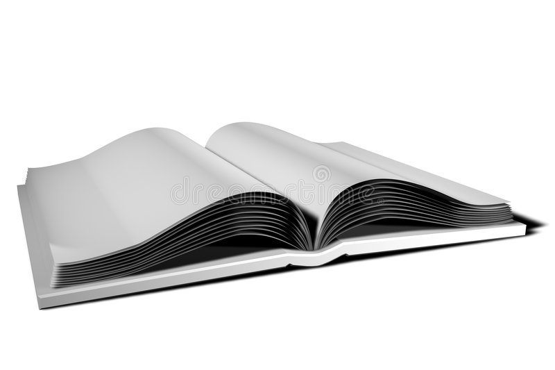 White Open Book Illustration. White book, open with blank pages displayed. Isolated 3D illustration on white background. Horizontal format vector illustration