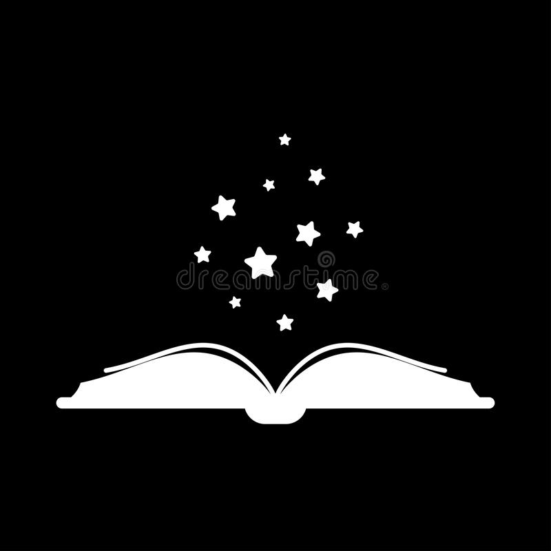 Download White Open Book With Stars Flying Out Isolated On Black Background Flat